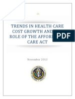 Trends in Health Care Cost Growth and ACA