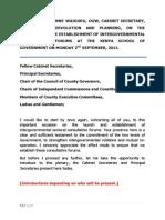 THE ESTABLISHMENT OF INTERGOVERNMENTAL CONSULTATIVE FORUMS
