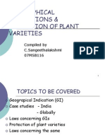 Geographical Indicators & Protection of Plant Varieties-- By