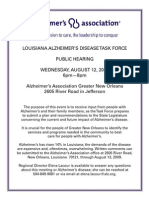 Louisiana Alzheimer's Disease Task Force Public Hearing Wednesday, August 12,