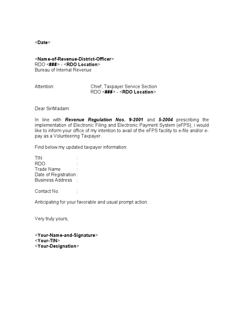 Sample Template eFPS Letter of Intent for Individual Taxpayer – Template of Letter of Intent