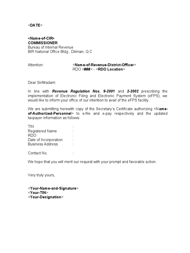 Sample Template eFPS Letter of Intent and Secretary Certificate – Loi Template