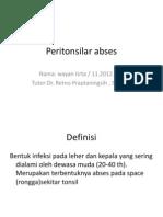 Peritonsilar abses