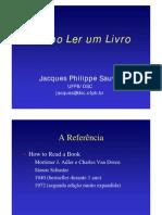 Como Ler Um Livro - Jacques Philippe Sauvé
