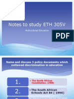 Notes to Study ETH 305V
