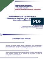 UZCÁTEGUI, Ramón. Reflexiones en torno a la Historia de la Educación