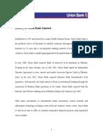 Union Bank Limited Internship Report