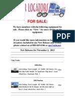 Equipment For Sale - November 21, 2013