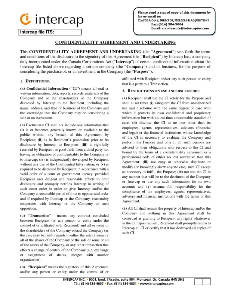 Confidentiality Agreement Intercap Non Disclosure Agreement