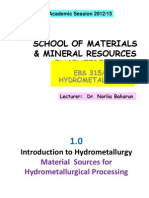 EBS 315 L2- Intro Hydrometallurgy ( 13 Sept 2012)
