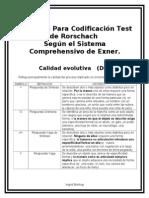 Codificaciones Rorschach Exner Doc