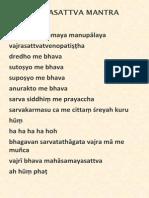 Vajrasattva Mantra With Musical Notation