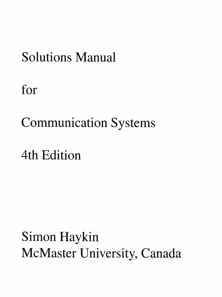 solution manual for communication systems haykin 4th edition rh scribd com Sample Communications Manual Commercial Communication