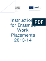 Instructions for Erasmus Work Placements 2013-2014