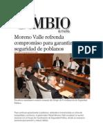 20-11-2013 Diario Matutino Cambio de Puebla - Moreno Valle Refrenda Compromiso Para Garantizar Seguridad de Poblanos