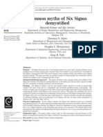 Common Myths of Six Sigma Demystified