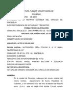 ESCRITURA PUBLICA CONSTITUCIÓN DE