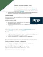 Pengertian Transitive Dan Intransitive Verb