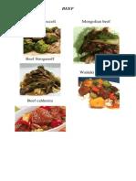 Beef menu