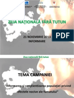 Informare - Ziua Nationala Fara Tutun 21 Nov.2013