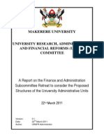 FNA Committee - A Report on the Finance and Administration Subcommittee Retreat to Consider the Proposed Structures of the University Administrative Units 22 March 2011