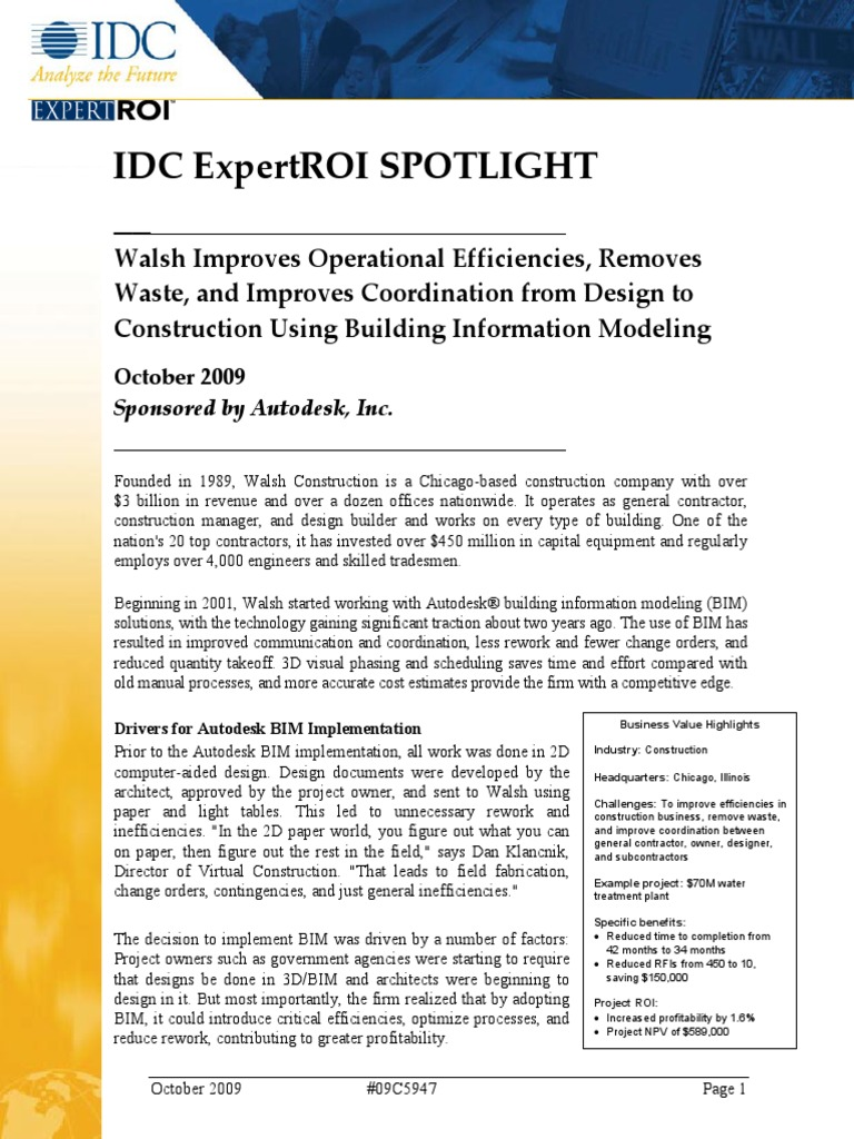 Idc Spotlight Walsh | Building Information Modeling