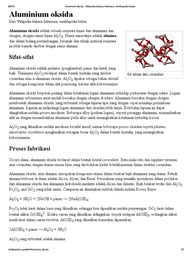 Aluminium Oksida Wikipedia Bahasa Indonesia Ensiklopedia Bebas