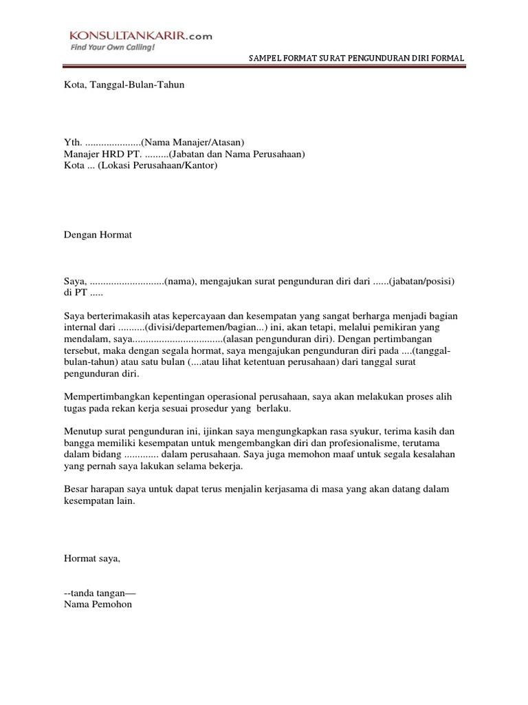 Contoh Surat Pengunduran Diri Non Formal Id Lif Co Id