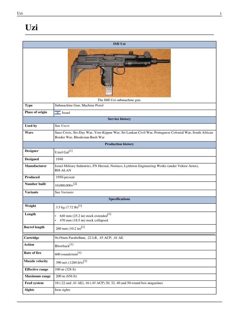 Development of the Uzi Machine Gun | Firearms | Projectile Weapons