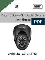 Avtron Ip Dome Camera for outdoor Aa 4535p Fsr2 Manual