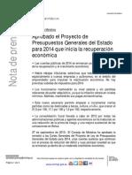 Presupuestos Generales del Estado 2014 - España