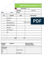 Relaince Dacard Usage Business Expense Claim Form