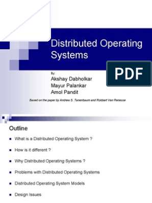 Distributed Operating Systems Process Computing Operating System