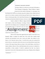 Jefferson's religious beliefs /Essay / Paper by AssignmentLab.com