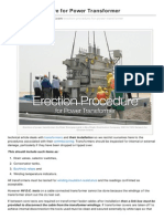 Erection Procedure for Power Transformer