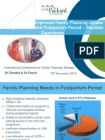Counseling and Improved Family Planning Uptake during the Extended Postpartum Period - Pakistan Experience