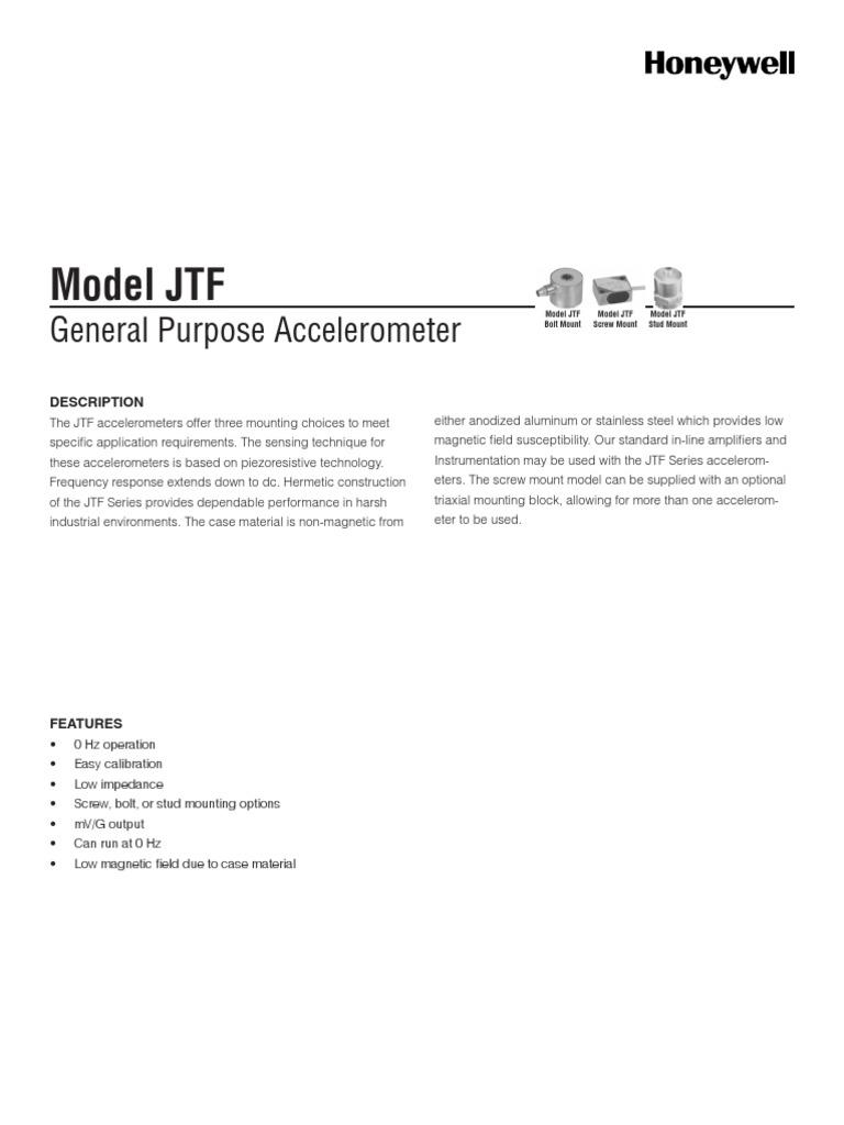 Model JTF Datasheet General Purpose Accelerometer