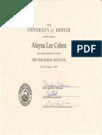 Cohen publishing certificate