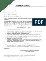 Convocazione e Atti Istruttori Consiglio Comunale del 28.11.2013