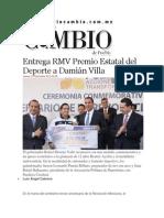 21-11-2013 Diario Matutino Cambio de Puebla - Entrega RMV Premio Estatal del Deporte a Damián Villa