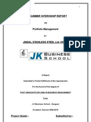 Jindal Stainless Ltd2123 | Investment Management | Modern Portfolio