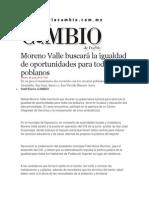 28-06-2013 Diario Matutino Cambio de Puebla - Moreno Valle buscará la igualdad de oportunidades para todos los poblanos