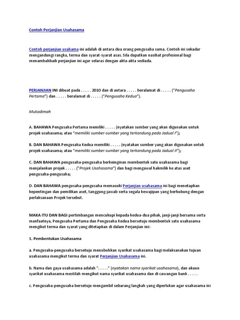 Contoh Surat Perjanjian Usahasama