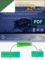 Gestion Des Ressources Dans Le Cadre Du Dispositif D'allocation Des Ressources (Dar) Du Fem