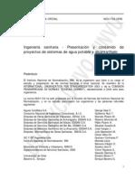 NCh1104_Of98 Ingeniería sanitaria - Presentación y contenidos de proyectos de sistemas de agua potable y alcantarillado