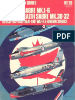 Osprey Aircam Aviation Series 20 - Canadair Sabre Mk.1-6 Commonwealth Sabre Mk.30-32 in RCAF-RAF-RAAF-SAAF-Luftwaffe & Foreign Service