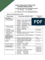 Histamine Preparation Sheet