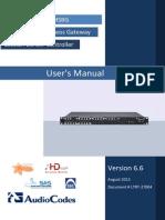 LTRT-27004 Mediant 1000B MSBG User's Manual Ver 6.6