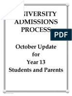 Yr 13 University Applications Update 2013