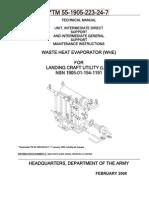Desalinator From Waste Engine Heat and Vacuum Manual TM-55-1905-223!24!7